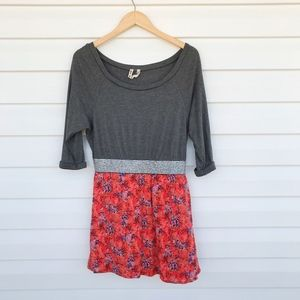 Free People Grey Jersey with Floral Mini Dress